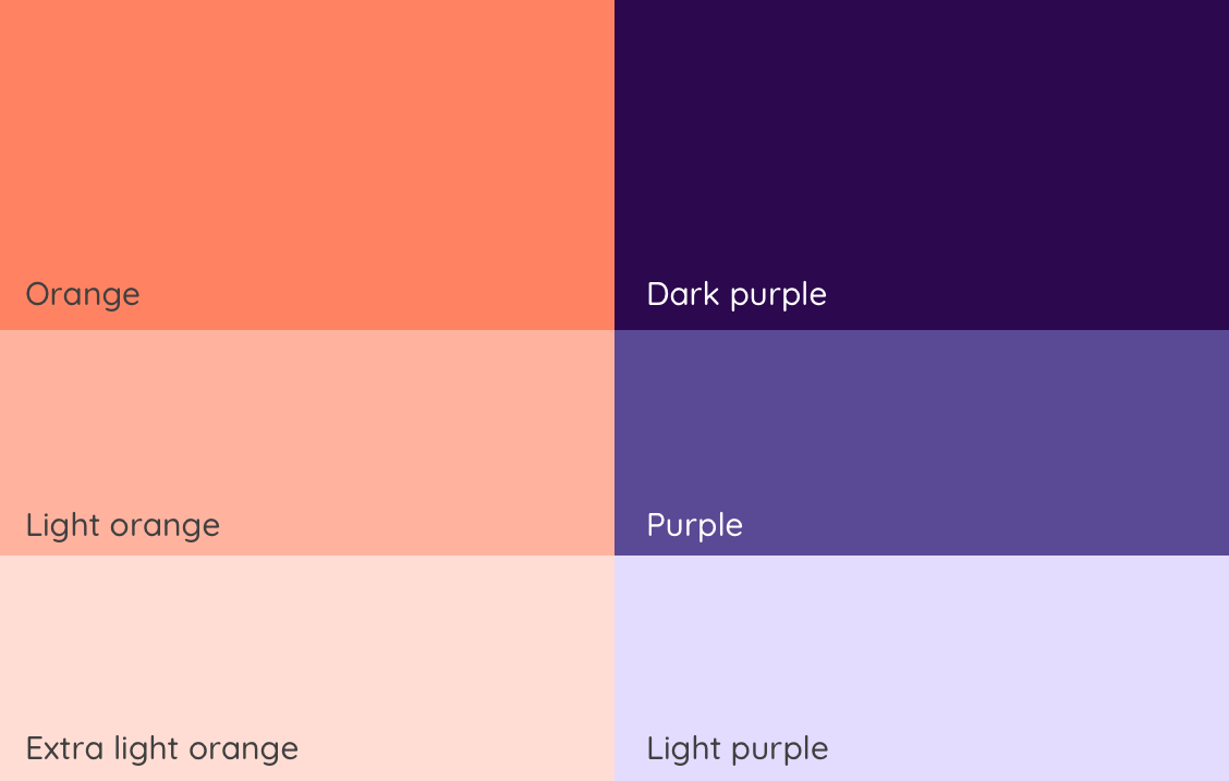The six colours we decided to go for. Three types of orange and three types of purple.