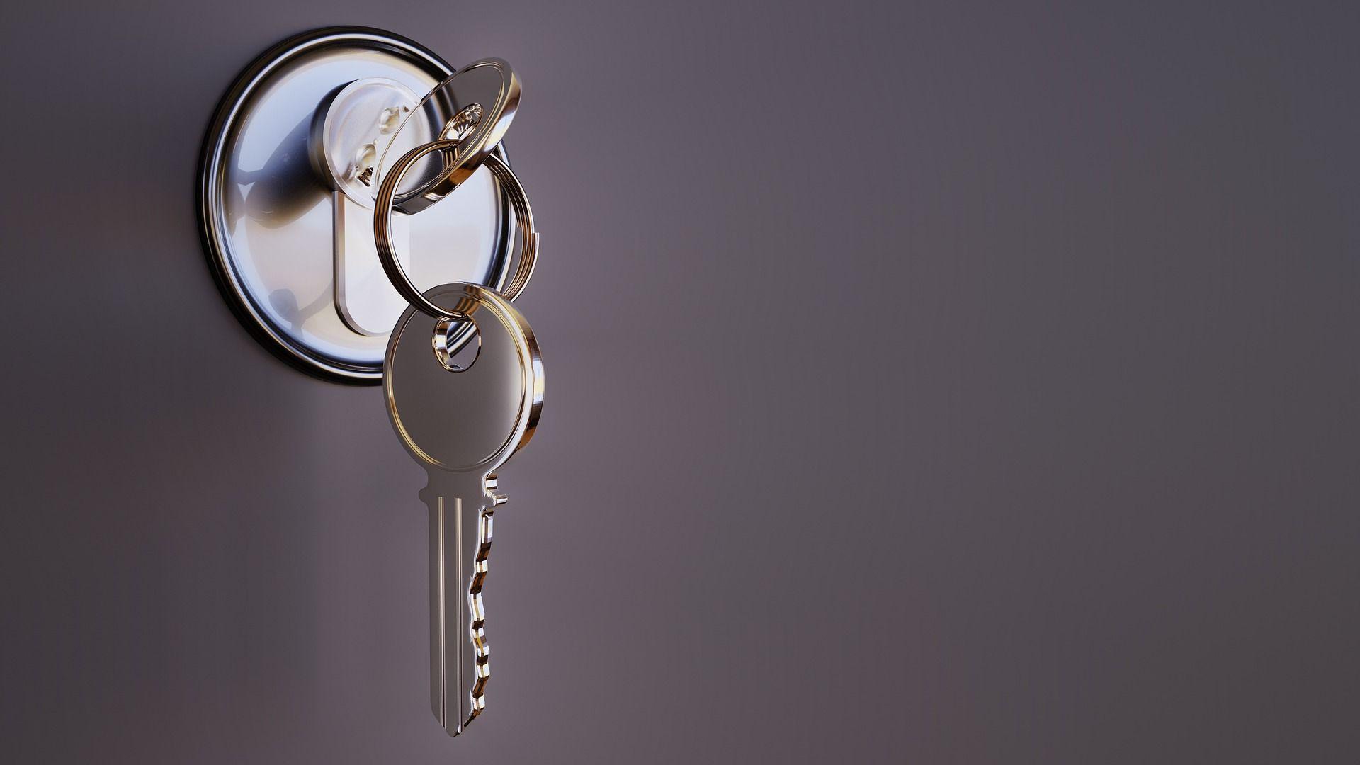 Yale set of keys in a door