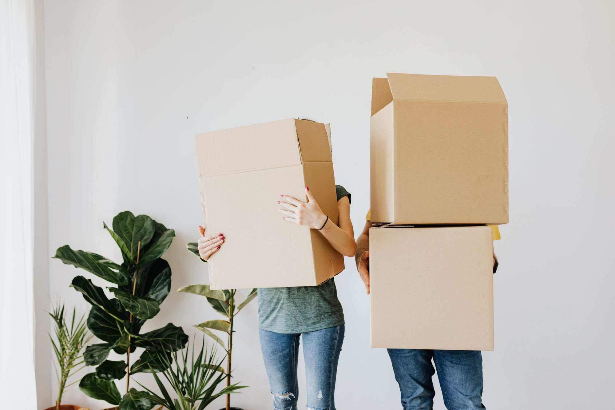 Couple-Moving-Home-Carrying-Removal-Boxes-With-Plant