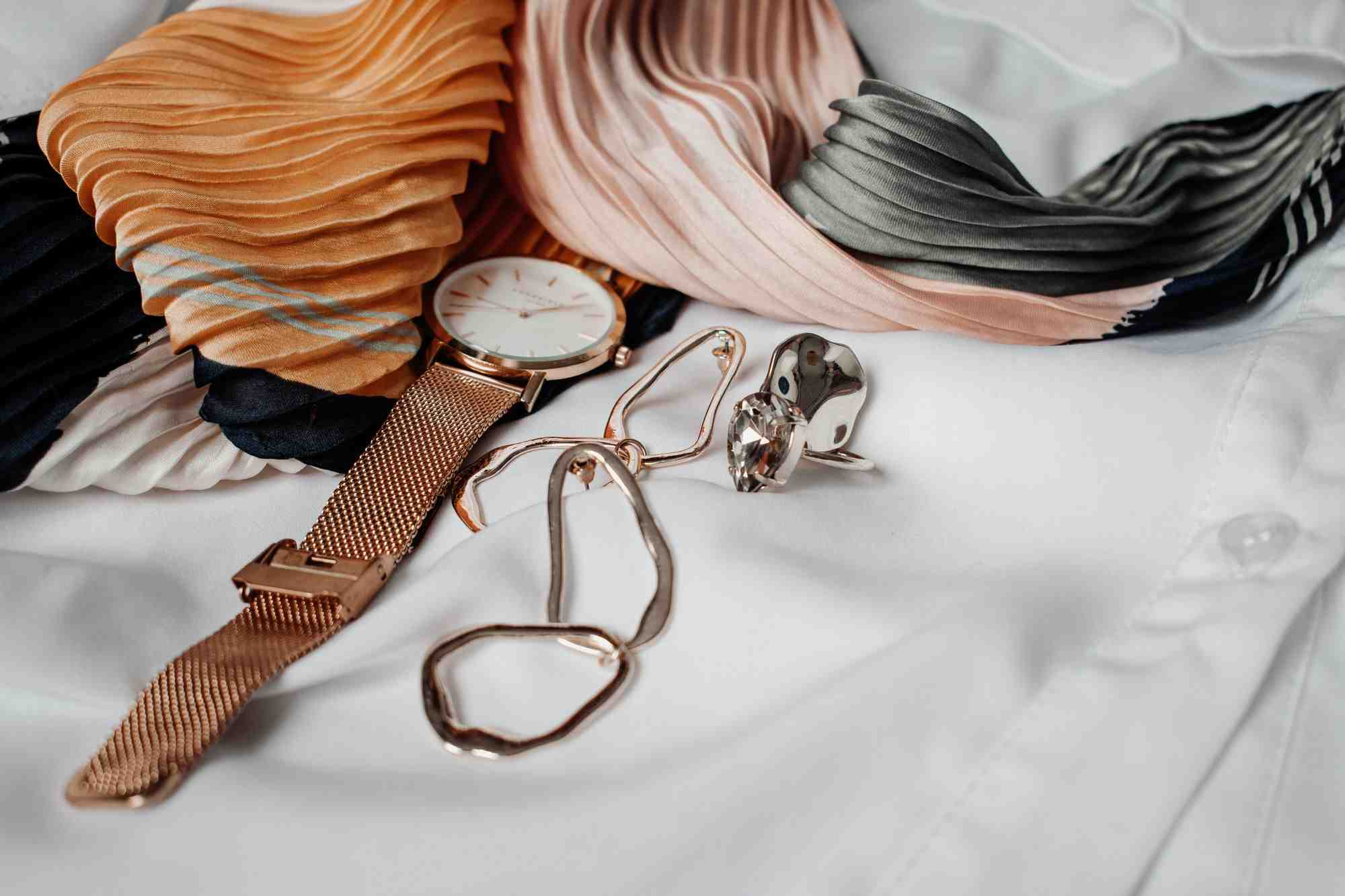 Expensive-Watch-and-Jewellery-on-White-Buttoned-Shirt